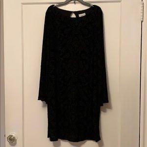 ECI NY black velvety pattered dress.